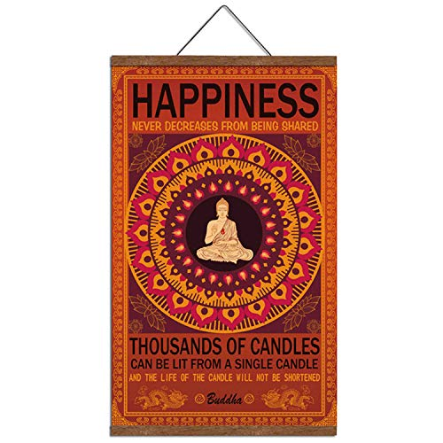 Buddha Wall Art Art Zen Decor Printed on Canvas with Scroll Wood Frame Hanger Poster Happiness Quote Motivational Home Decor Hanging Painting 15.7 x 27 inch
