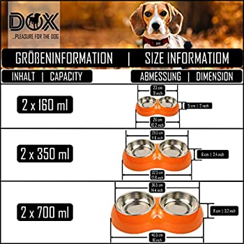 DDOXX Gamelle Double pour Chien, Antidérapante | Nombreuses Couleurs & Tailles | pour Petit, Moyen Gros & Grand | Bol en Acier INOX-ydable en Mélamine Chat Chiot | Blanc, 2 x 160 ML