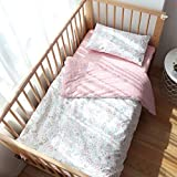 100% Cotton Crib Bedding Set for Toddler Boys Girls,3Pcs Include Duvet Cover,Fitted Sheet,Pillowcase, Baby Bed Linen,Nursery Decoration,No Filler (Swan)
