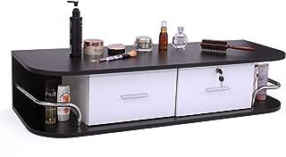 Sandinrayli Salon Classic Wall Mount Styling Station Beauty Salon Spa Locking Cabinet, Black and White