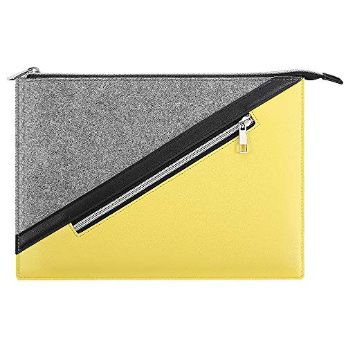 TiMOVO 9-11 Inch Funda para iPad 8a & 7a Generación (10.2'2020/2019),iPad Air 4, iPad Pro 11 2020/2018,Galaxy Tab A 10.1,S6 Lite 2020 3, Apple Smart Keyboard, Bolsa Bicolor para Tableta, Amarillo