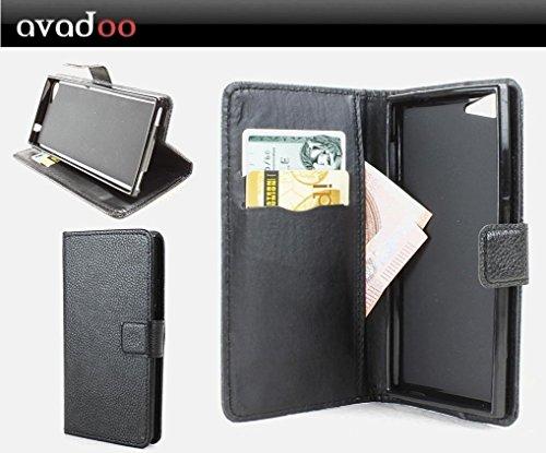 avadoo® Wiko Highway Signs Flip Hülle Cover Tasche in Schwarz mit Magnetverschluss & Dualnaht als Cover Tasche Hülle