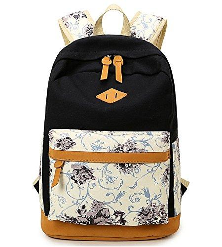 DoubleMay Fashion Mädchen Schulrucksack Damen Canvas Rucksack Teenager Baumwollstoff Schultasche Outdoor Freizeit Daypacks mit Schicker Blumendruck QXT-8891 (Schwarz)