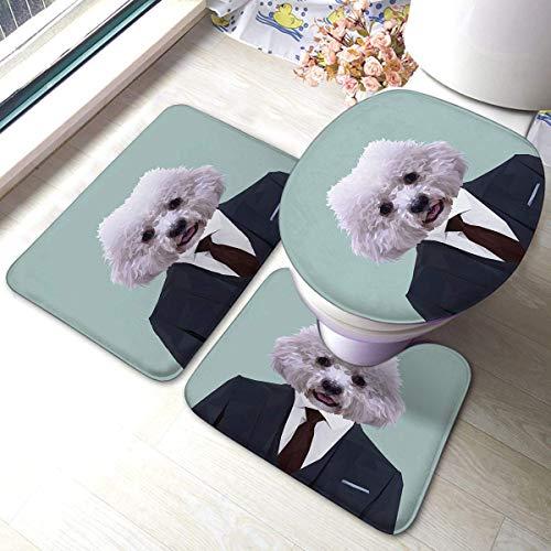 Badmatten-Sets 3-teiliges Set Bichon Frise Hund Tier in dunkelblauem Anzug mit roter Krawatte Busin Man Anti-Rutsch-Pads Badematte
