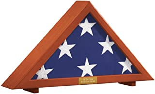 Military Flag Display Case with Personalized Brass Plaque   Holds 5' X 9.5' Folded Veteran's Memorial Burial Flag