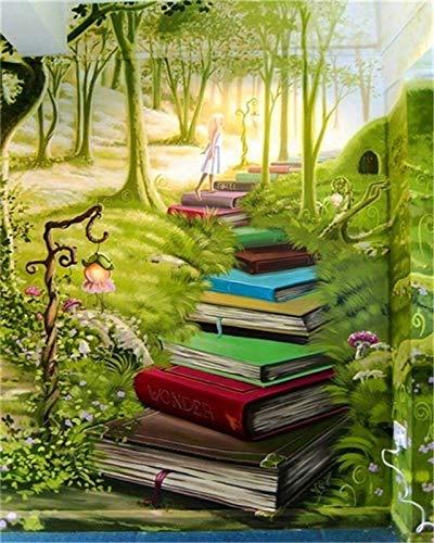 ZXDA Dipingere con i Numeri Immagine del Libro per Soggiorno Decorazione della casa Unframe Colorare con i Numeri Paesaggio Arte Astratta A8 40x50cm