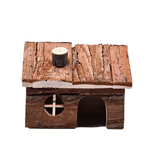 Freedomanoth kleine huisdier open haard huis natuur hout hut hamster huis living leefruimte voor muizen en andere kleine dieren, M 20x13x13cm