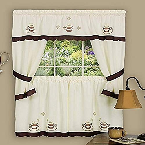 Achim Home Furnishings 58-Inch by 24-Inch Cuppa Joe Embellished Cottage Topper with 58-Inch by 36-Inch Swaggers for Windows