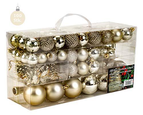 100 teiliges Set Weihnachtskugel Lamettini Lametta Anhänger Christbaumspitze (Creme)