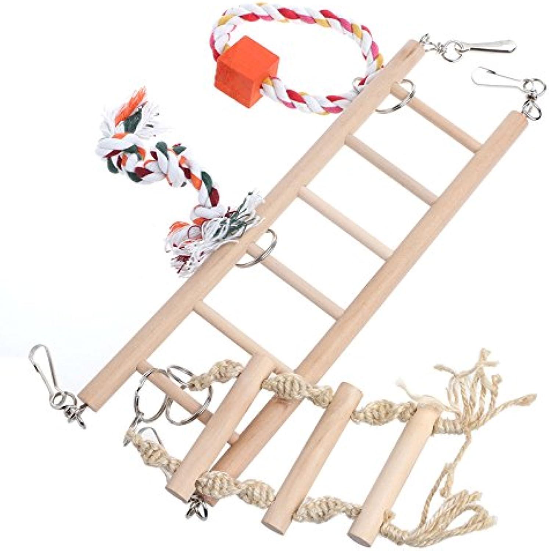 Pet Bird Parred Parakeet Cockatiel Ladder Hammock Swing Chew Hanging Wooden Toys