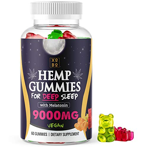 XOBO Hemp Gummies for Relaxation, Sleep & Anxiety Relief - Strong Hemp Edible Gummy Bears in Delicious Fruit Flavors - 150mg Hemp Seed Extract + 10mg Melatonin Gummies for Insomnia - 60 Servings