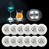 Ahier LED Coaster,12 Pcs Led Coasters for Drinks, Led Bar Coaster, Perfect for Party, Wedding, Bar (White and Thin)