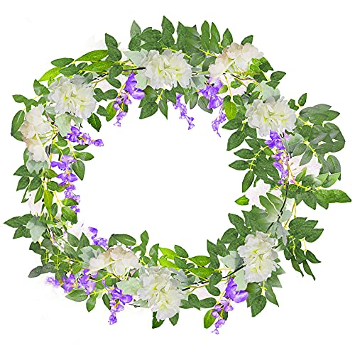 Unisun 2Pcs Artificial Garland, 7.5ft Cherry Blossom and 6ft Fake Silk Wisteria Vine, 2 in 1 Hanging Rattan Flowers Garland Ivy Arts for Outdoor Ceremony Wedding Garden Home Party Wall Decoration