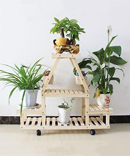 LX étagère à fleurs Plateau à fleurs en bois massif Plateau à fleurs à plusieurs couches Bonsai cadre à roulettes Salon avec balcon Plateau à fleurs Rack de rangement Support de pots intérieur extéri ( Couleur : B )