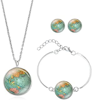 PONCTUEL ESCARGOT Personalized World Map Necklace Bracelet Earring Jewelry Globe Signs Circular Tag Pendant Jewelry