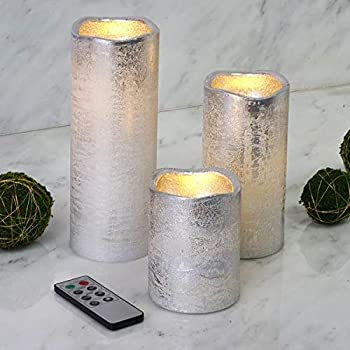 """Tableclothsfactory Set of 3 Metallic Silver Flameless Candles Battery Operated LED Pillar Candle Lights with Remote Timer - 4  / 6"""" / 8"""""""
