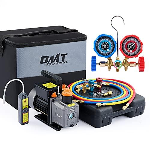 Orion Motor Tech AC Gauges and Vacuum Pump, 4 CFM Vacuum Pump and Manifold Gauge Set with Leak Detector for R134a, R12, R22, R502 Refrigerant, AC Vacuum Pump and Gauge Set