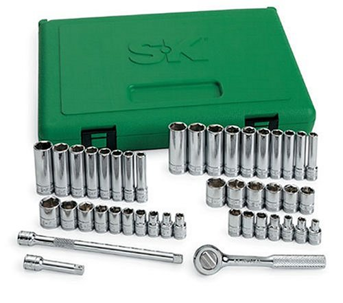 SK 91844 44 Piece 1/4-Inch Drive 6 Point Standard and Deep Socket Set with 18 Piece 3/16-Inch to 9/16-Inch and 23 Piece 4-Millimeter to 15-Millimeter Assortments