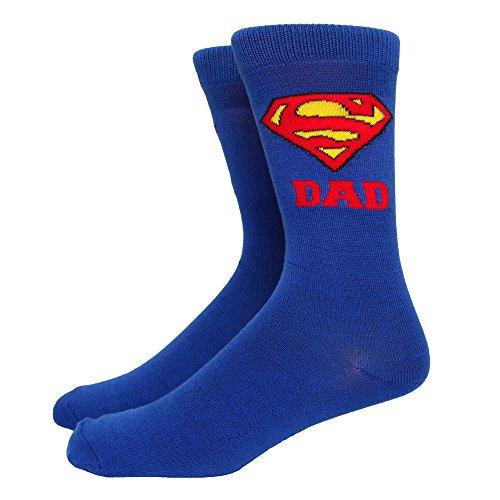 Superman Super Dad Crew Socken für Erwachsene, Blau