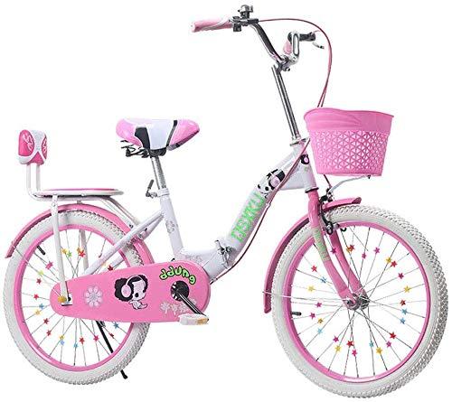 Opvouwbare mannen en vrouwen vouwfiets - opvouwbare kinderfiets 6-18 jaar oude prinses fiets 18-22 inch kindervoet fiets, roze, 20 inch