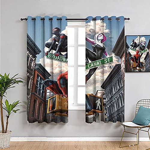 gordijn Spider Woman Gwen en Spiderman collectieve animatie kunst poster Multicolor bedrukt gordijn set voor woonkamer en slaapkamer 100 x96
