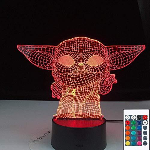 Lámpara De Ilusión 3D Luz De Noche Led Baby Yoda Meme Figura Para Niños Decoración De Habitación Infantil Lámpara De Mesa Baby Mini Yoda