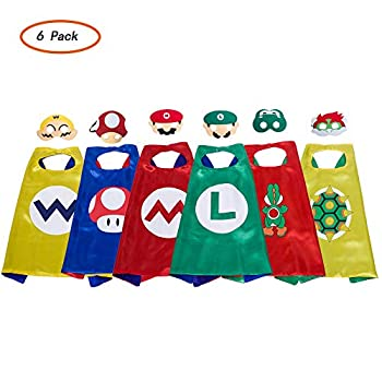 Super Mario Cape And Mask Set Costume Kids Birthday Party Supplies Superhero Style Cosplay Costumes And Halloween Gift