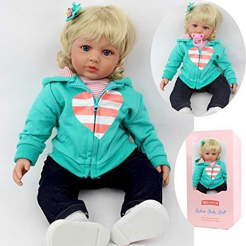 ZIYIUI 24'' Bambole Reborn 60 cm Realistico Baby Dolls Bambino Neonatale Simulazione Morbido Silicone Vinile Toddler Babies Occhi Giocattoli Magnetico