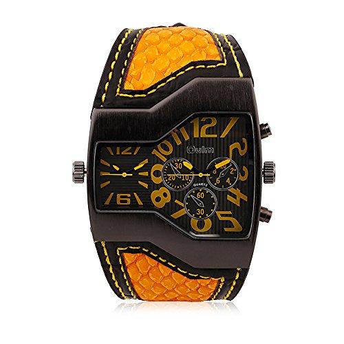 iLove EU da uomo orologio da polso analogico al quarzo giapponese a doppio movimento doppio fusi orari orologio sportivo con quadrante giallo e serpente in pelle Bracciale