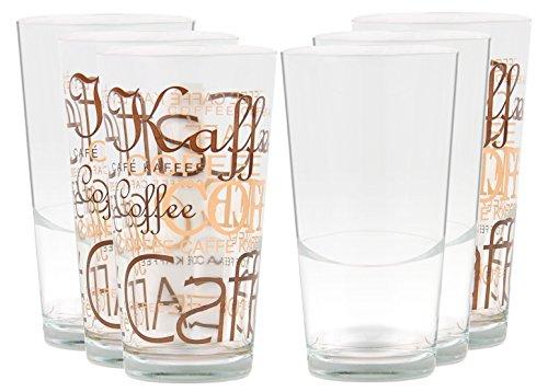 Set van 6 Mix Latte Macchiato Glas 39cl stapelbaar met decoratie/zonder decoratie