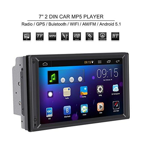 2 Din Autoradio Stéréo Lecteur MP5 7 Pouces Lecteur DVD Portable Multi-fonction Voiture avec Navigation GPS, Ecran Tactile Multimédia Bluetooth WIFI AM/FM pour Android 10.0(Europe)