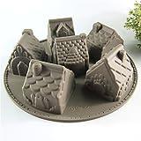 MKNzone 1 moldes de Silicona DIY, Tartas, Chocolate - Forma de la casa, Entrega de Color Aleatorio(26 X 26 X 6.3 cm)