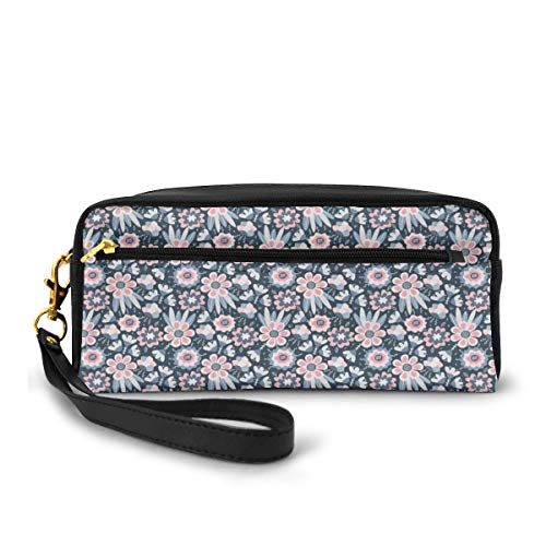 Pencil Case Pen Bag Pouch Stationary,Flowers Hand Drawn Composition,Small Makeup Bag Coin Purse