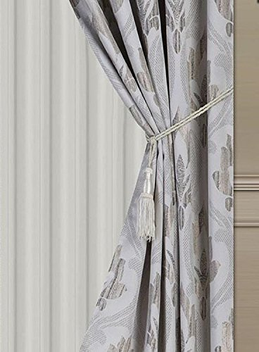 "Elegant Home Window Curtain Drapes All-in-One Set with Valance & Sheer Backing & Tassels for Living Room, Bedroom, Dining Room, and Sliding Doors - 1631 (Grey/Silver, 120"" X 84"")"