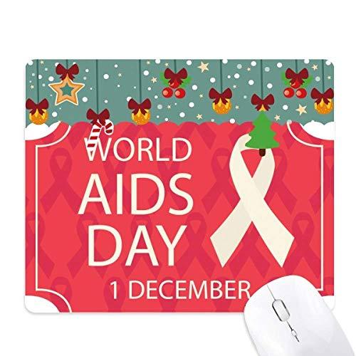 wereld aids dag rood lint hiv muis pad spel office mat kerst rubber pad