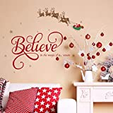 ufengke 'Believe Quote Wall Stickers Santa Claus Reindeer Snowfalkes Window Clings Decal for Showcase Home Decor Merry Christmas Decoration