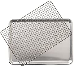 Nordic Ware 43172AMZM 2 - Piece Set - Half Sheet W/Oven Safe Nonstick Grid, Aluminum