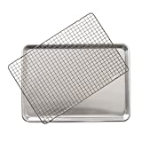 Nordic Ware 43172AMZM Half Sheet with Oven Safe Nonstick Grid, 2 Piece Set, Natural