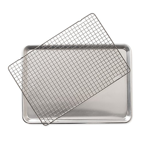 Nordic Ware Baking Sheet with Oven Safe Nonstick Grid, 2 Piece Set