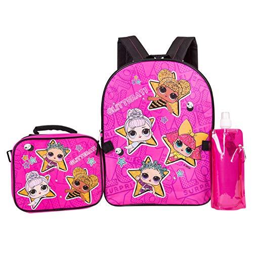 L.O.L. Surprise Backpack Combo Set - Girls' 4 Piece Backpack Set - L.O.L. Surprise Backpack & Lunch Kit (Hot Pink)