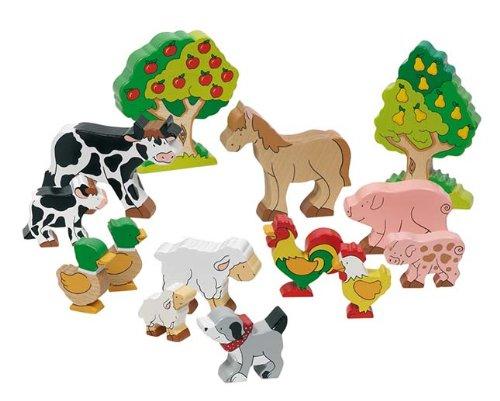 goki 53034 Bauernhoftiere bunt bemalt aus Holz Massivholz-Farmtiere Spielzeug Set