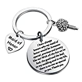 UJIMSMaid of Honor Keychain with Flower Charm Wedding Jewelry There is No One As Special As You Wedding Proposal Gift for Bridesmaid Bitches (Maid of Honor Keychain)