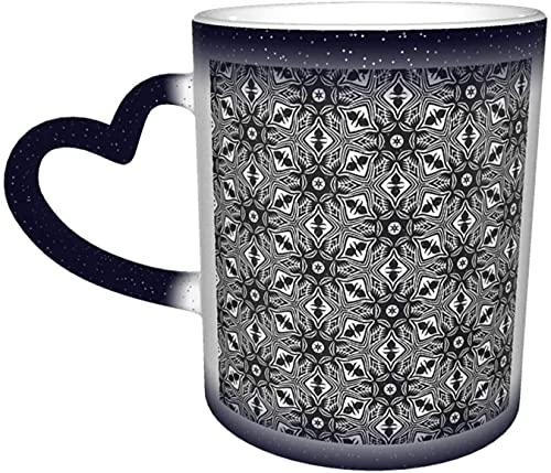 Taza que cambia de color sensible al calor mágico con textura blanca negra en el cielo Tazas de café artísticas divertidas Regalos personalizados para amantes de la familia Amigos-Azul