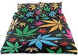 Rorun Patrón de Color de Marihuana sobre Fondo Negro,Juego de Ropa de Cama con Funda nórdica de Microfibra y 2 Funda de Almohada - 220 x 240 cm