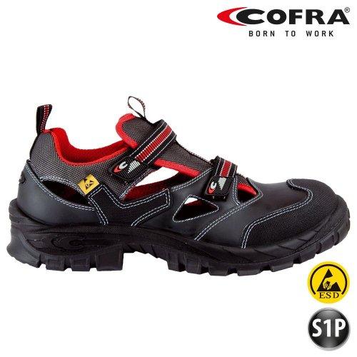 Cofra Sicherheitsschuhe, Guttorm, Sommer-Sandalen, schwarz, S1P Asgard 13050000, BGR191, 38, Schwarz