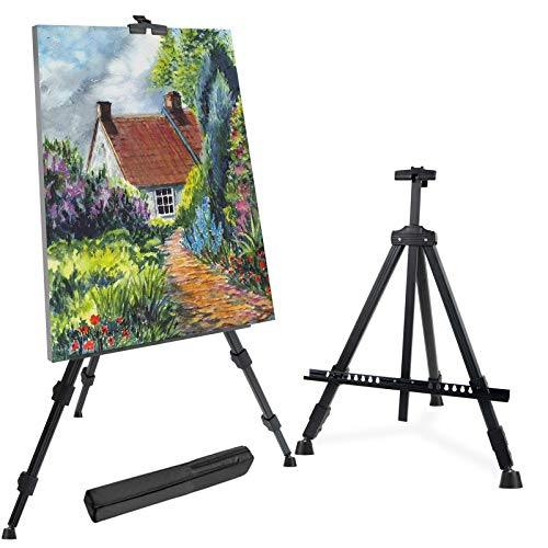 """T-Sign 72'' Tall Display Easel Stand, Aluminum Metal Tripod Art Easel Adjustable Height from 22-72"""", Extra Sturdy for Table-Top/Floor Painting, Drawing and Display with Bag, Black"""