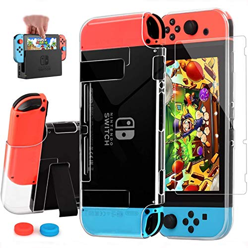 AISITIN Compatible with Nintendo Switch Case Dockable Clear Protective Case Cover for Nintendo Switch and Joy-Con Controller with a Switch Tempered Glass Screen Protector and Thumb Stick Caps