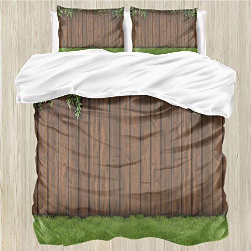 LanQiao - Funda de edredón para jardín con una antigua valla de madera en la hierba, 1 funda de edredón y 3 fundas de almohada, cierre de cremallera, color verde lima 172,7 x...