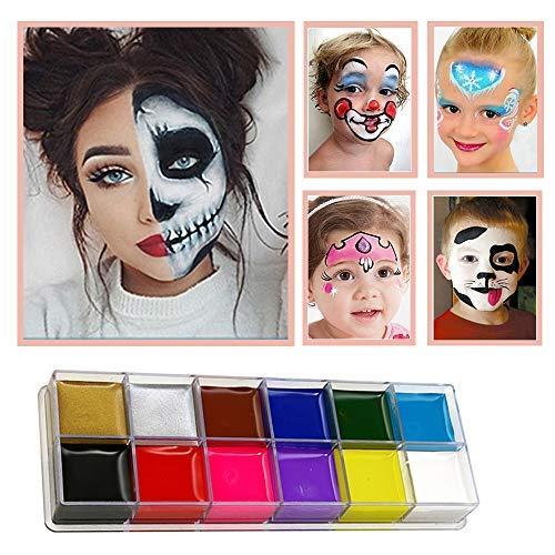 Face Paint Set pour les enfants, Kit de 12 couleurs avec 2 pinceaux, Palette de qualité professionnelle pour le maquillage des visages