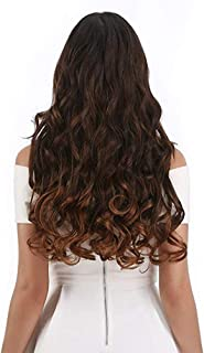 "CNLONG 20"" Wave Curly Hair extension 3/4 Full Head Clips In Synthetic Hairpieces For Women 5 Clips 4.6 Oz Per Piece1-Pack - Light Caramel"